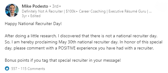 The original of National Recruiter Day